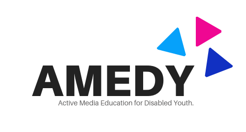 Logo: AMEDY - Active Media Education for Disabled Youth